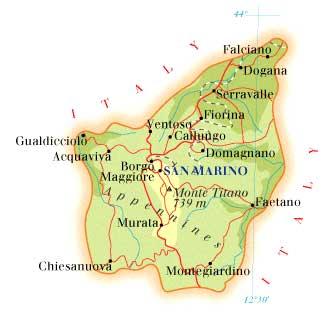 Turisme kort over republikken san marino i emilia romagna regionen